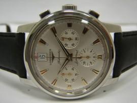 流當品拍賣 原裝 LONGINES 浪琴  征服者系列 不鏽鋼 三眼計時 男錶