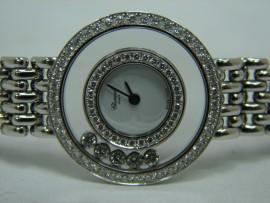 流當品拍賣 CHOPARD 蕭邦 快樂鑽 Happy Dioamonds 18K金 K金帶 女鑽錶 9成5新